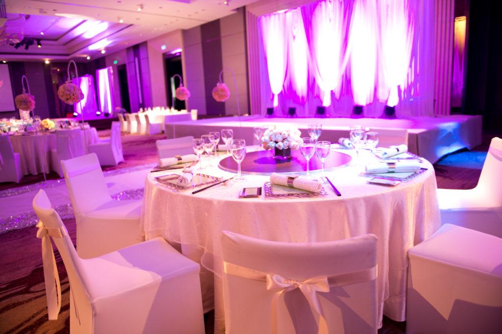 Interior of  a indoor wedding reception hall.